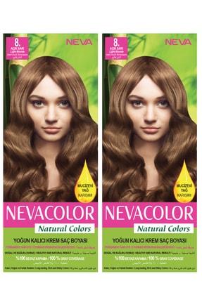 Neva Color 2'li Natural Colors 8. Açık Sarı - Kalıcı Krem Saç Boyası Seti