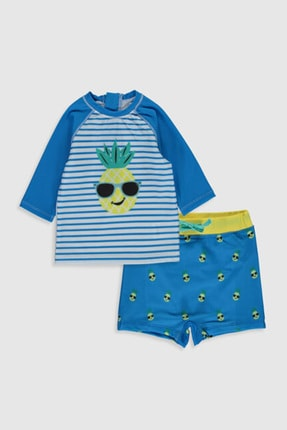 LC Waikiki Erkek Bebek Mavi Çizgili Len Yüzme Takım