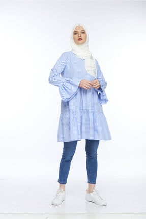 Allegro Gold Kadın Mavi Gömlek Kareler