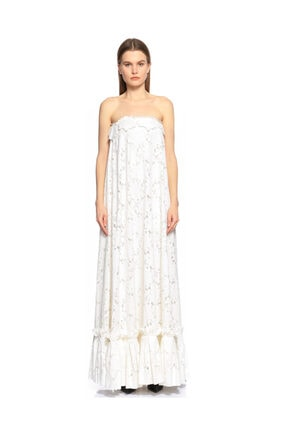 Lanvin Dantelli Beyaz Uzun Gece Elbisesi