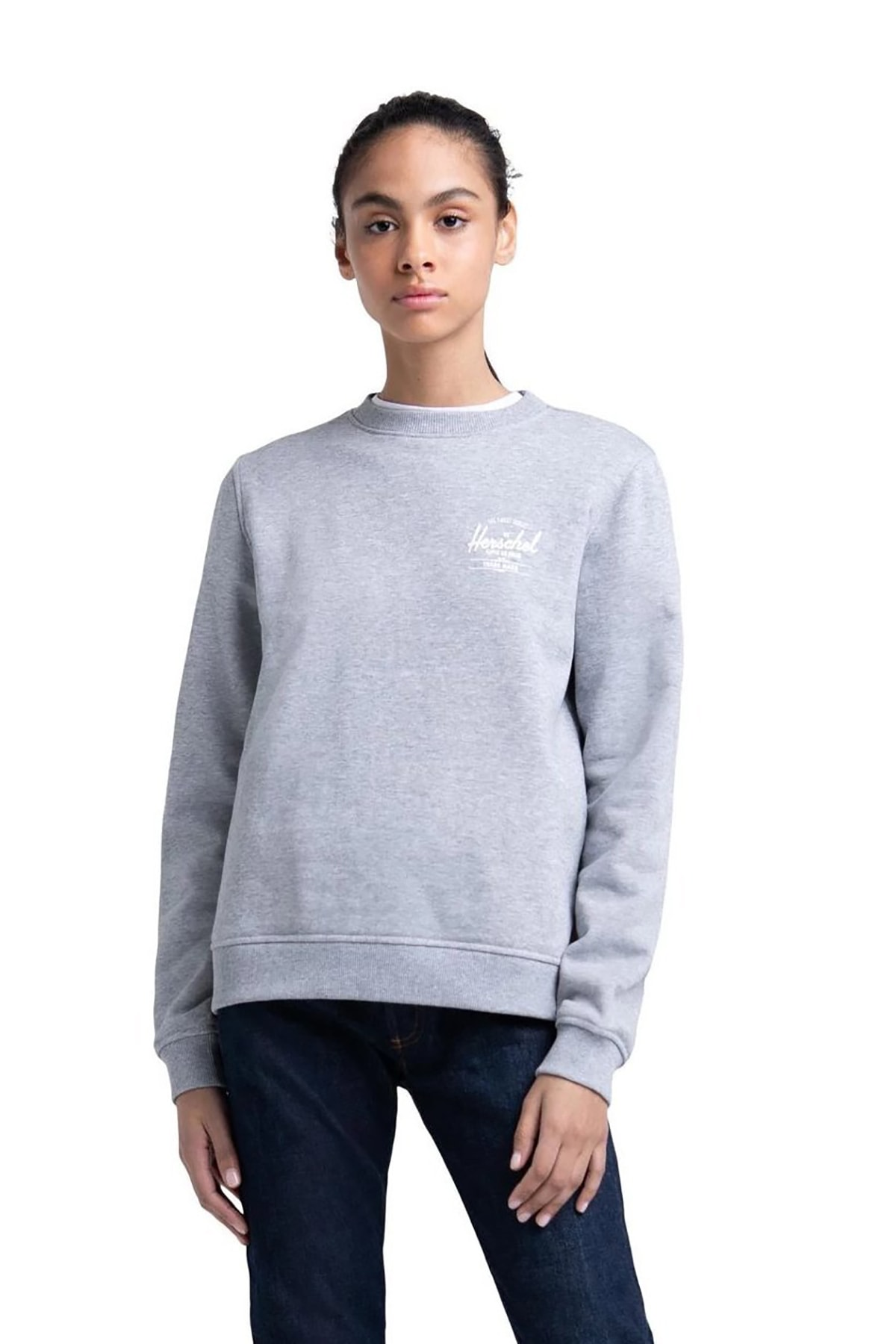 Herschel Herschel Supply - Kadın Sweatshirt - Womens Classic Logo Crewneck Grey/White