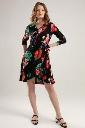 Y-London Kadın Siyah Kırmızı V Yaka Çiçek Baskılı Elbise Y20S102-6200