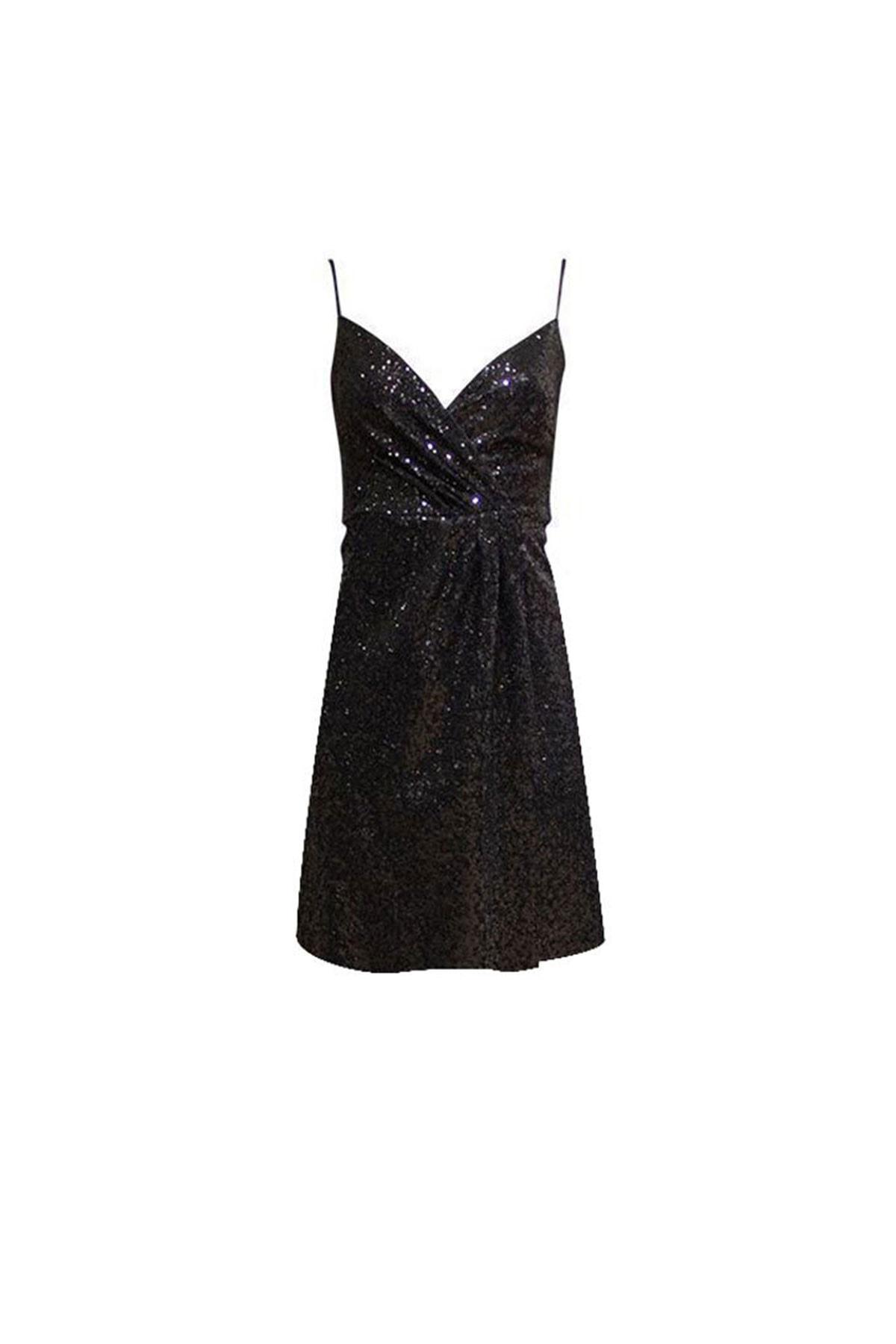RİVUS Spagetti Askılı Payetli Mini Elbise 1462-1
