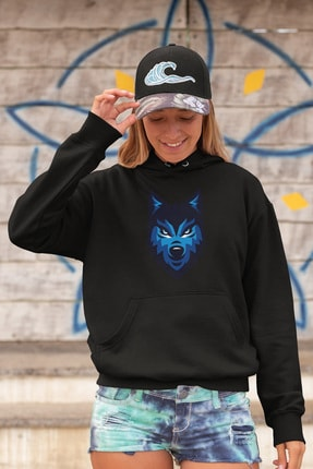 Angemiel Wear Blue Wolf Siyah Kadın Kapüşonlu Sweatshirt Çanta Kombin