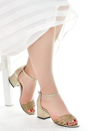 Ayakland 038-25 Taşlı 5 Cm Topuk Bayan Sandalet Ayakkabı