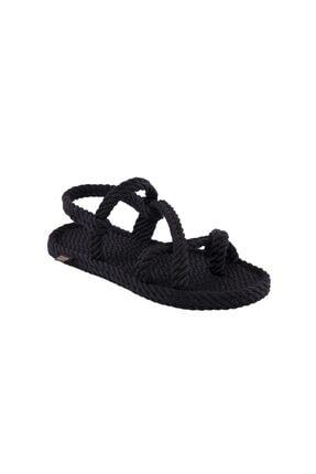 NOMADIC REPUBLIC Capri Kadın Halat & Ip Sandalet - Siyah