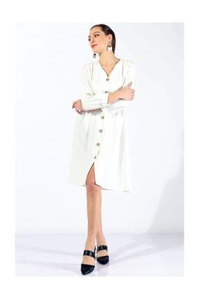 Twister Jeans Boydan Düğmeli Elbise 19124 Beyaz