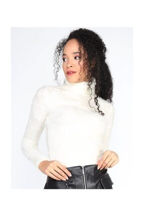 Twister Jeans Bt Peluş Boğazlı Kadın Triko 2200 Ekru