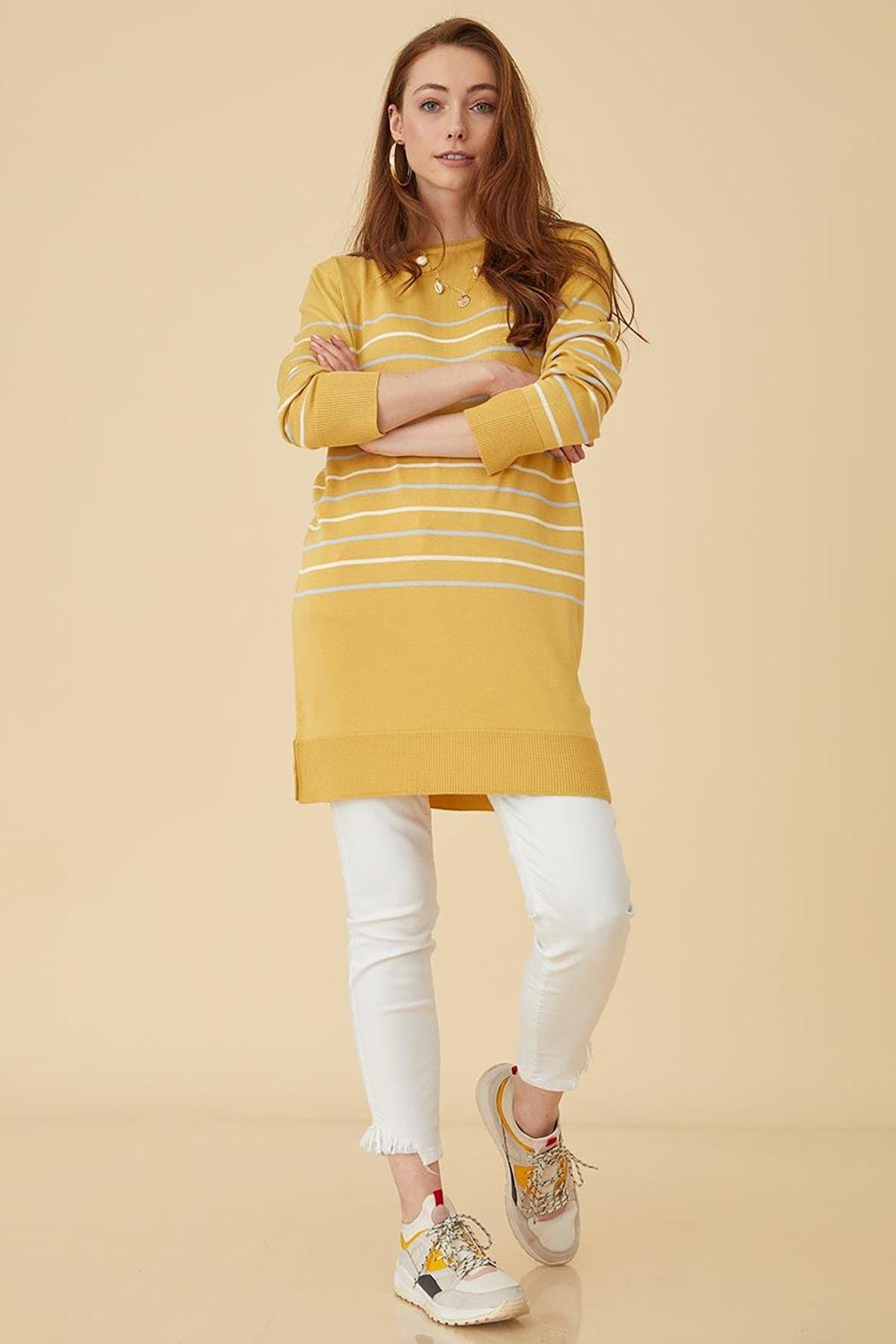Kayra Kadın Çizgili Triko Tunik Sarı B9 Trk01