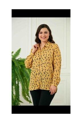 Rmg Büyük Beden Gömlek Renk Hardal Uzun Kollu Küçük Desenli