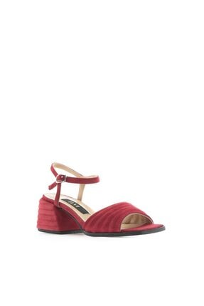 İlvi Karlına Kadın Sandalet Kırmızı Süet