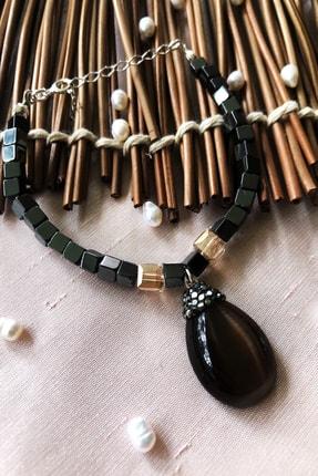 DR Stone Luxury Collection Kedigözü Ve Hematit Taşı 925 Ayar Gümüş Kadın El Yapımı Bileklik Lxdr16