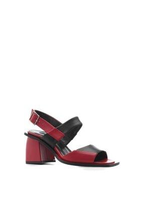 İlvi Hukis Bayan Sandalet Kırmızı Deri - Siyah Deri