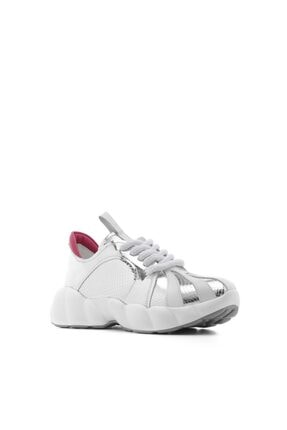 İlvi Swis Kadın Spor Ayakkabı Beyaz Deri-gümüş Ayna