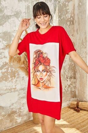 Mispacoz Kadın Taç Model Baskılı Tunik Elbise Kırmızı