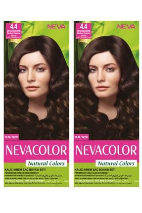 Neva Color 2'li Natural Colors 4.4 Orta Kestane - Kalıcı Krem Saç Boyası Seti