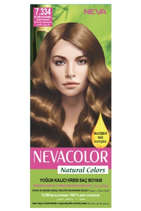 Neva Color Natural Colors 7.334 Altın Karamel - Kalıcı Krem Saç Boyası Seti