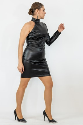 Lefon Tek Kol Deri Elbise