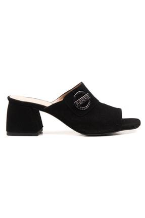Ferre Sandalet Ayakkabı Siyah Süet