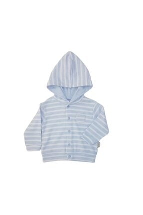 Ciccim 4313 Erkek Bebek Çizgili Kapüşonlu Penye Hırka