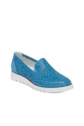Tergan Mavi Deri Kadın Ayakkabı 64432j61