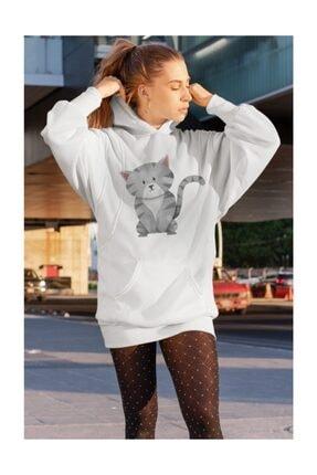 Angemiel Wear Cat Beyaz Kadın Kapüşonlu Sweatshirt Çanta Kombin