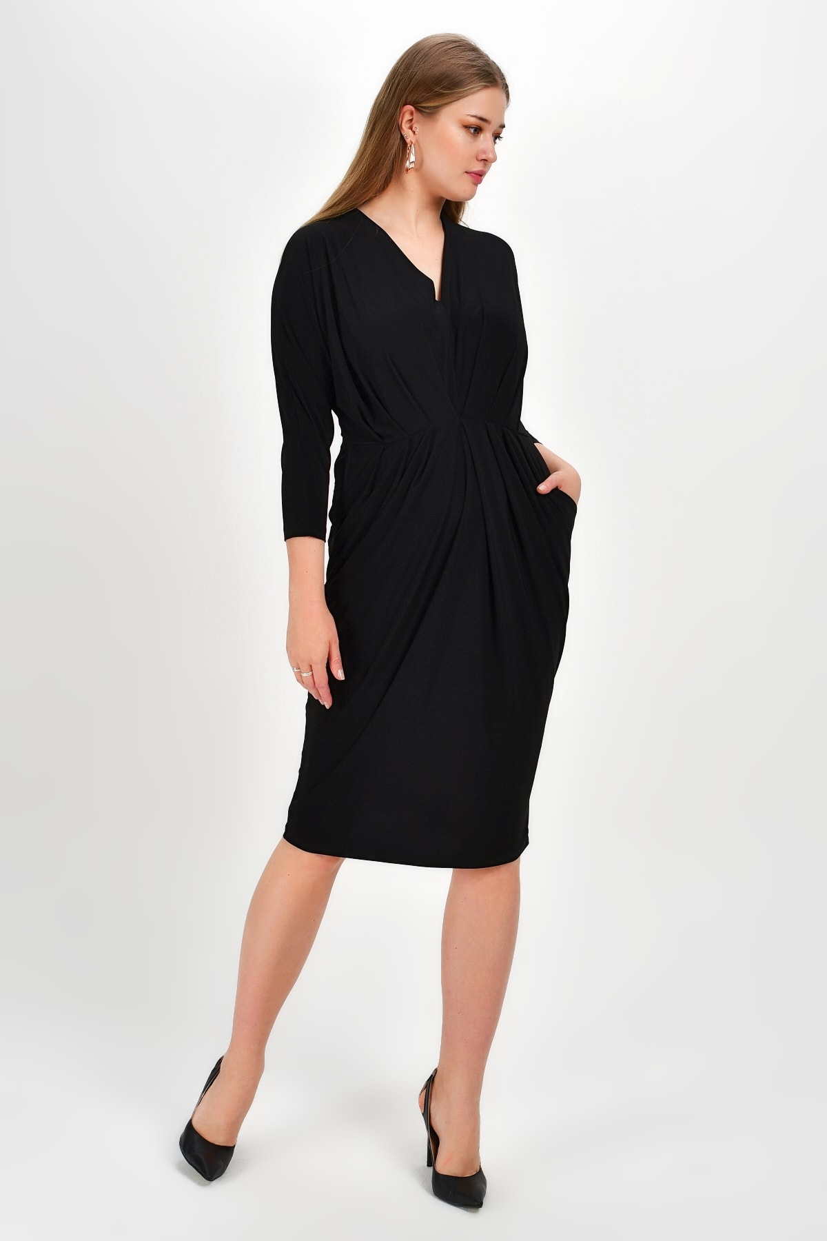 Laranor Kadın Siyah Pili Ve Cep Detay Elbise 19Lb9203