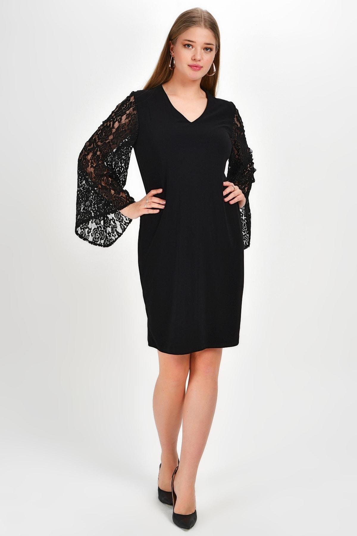 Laranor Kadın Siyah Dantel Kol Detay Elbise 19Lb9214