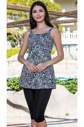 Armes Kadın Siyah Beyaz Taytlı Elbise Mayo