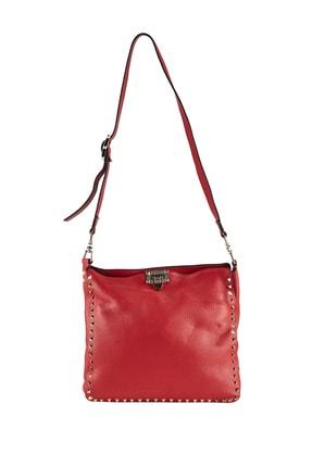 Deriderim Kırmızı Kadın Deri Omuz Çantası Val-001-capraz