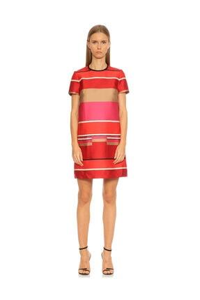 Lanvin Çizgili Mini Kırmızı Elbise