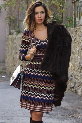 Karen Millen Karen Mıllen Renkli Desenli Triko Elbise