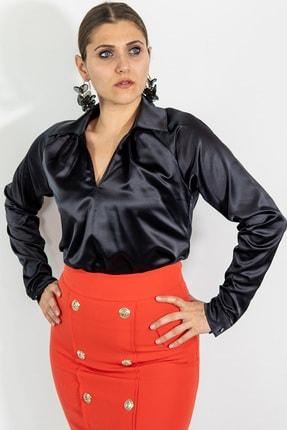Lefon Kadın Alttan Bağlamalı Saten Gömlek