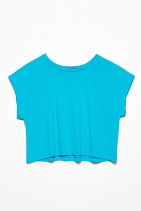 Dilvin Kadın Mavi Geniş Kol Kısa T-Shirt 101A03431