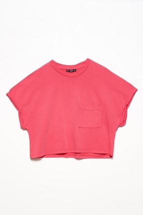 Dilvin Kadın Fuşya Kol Kıvırmalı Cepli Salaş T-Shirt 101A03536