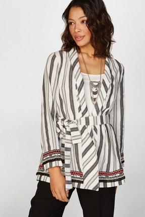 Faik Sönmez Kadın Siyah Çizgili Kimono 38476 U38476