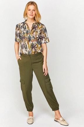 Faik Sönmez Kadın Koyu Haki Cargo Fit Tencel Pantolon 60553 U60553