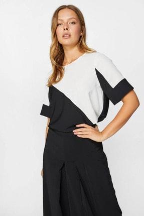 Faik Sönmez Kadın Siyah Renk Bloklu Kısa Kol Bluz 60152 U60152
