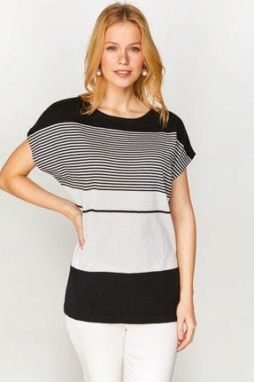 Faik Sönmez Kadın Siyah Renk Bloklu Simli Düşük Kol Triko Bluz 60743 U60743