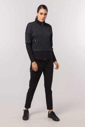 Bilcee Siyah Kışlık Simli Kadın Eşofman Takımı EW-3054