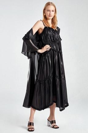 Nocturne Kadın Siyah Fırfır Şeritli Kapüşonlu Trençkot N20Y-11203-0002
