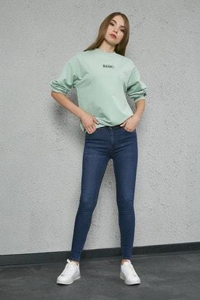 Sateen Kadın Mavi Skinny Jean Pantolon