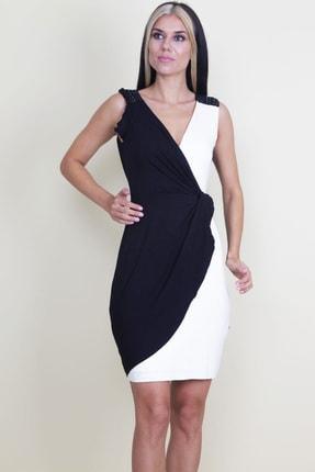 Şans Kadın Omuzları Boncuk Detaylı Anvelop İki Renk Elbise
