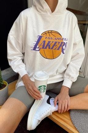 Xhan Kadın Beyaz Baskılı Kapüşonlu Oversize Bol Kesim Sweatshirt