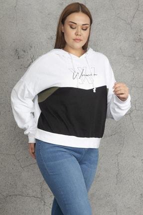 Şans Kadın Beyaz Pamuklu İçi Şardonlu Kumaş Kapşonlu Sweatshirt 65N19323