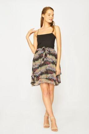 Batik Kadın Siyah Desenli Casual Etek Y42669