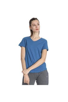 Sportive Kadın Mavi Günlük V Yaka Tişört 610003-ptr