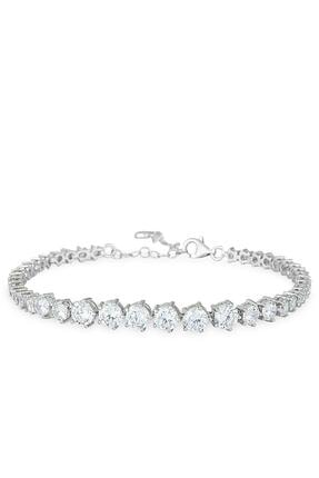 Herisson Kadın 925 Ayar Gümüş Zirkon Beyaz Taşlı Su Yolu Bileklik Hnzrb1400