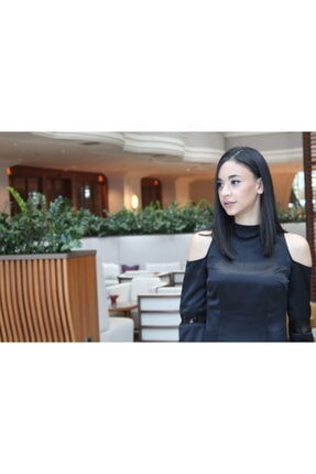 NK Siyah Omzu Açık Saten Elbise