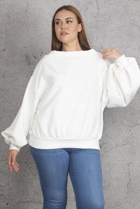 Şans Kadın Kemik Yaka Ve Kol Detaylı İçi Şardonlu Sweatshirt 65N19751